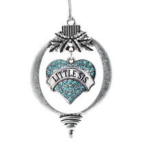 Inspired Silver Little Sis Aqua Pave Heart Holiday Decoration Christmas Tree Orn - $14.69