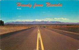 Chrome Postcard NV I506 Howdy from Nevada Highway Travel Mountains Desert - $6.50