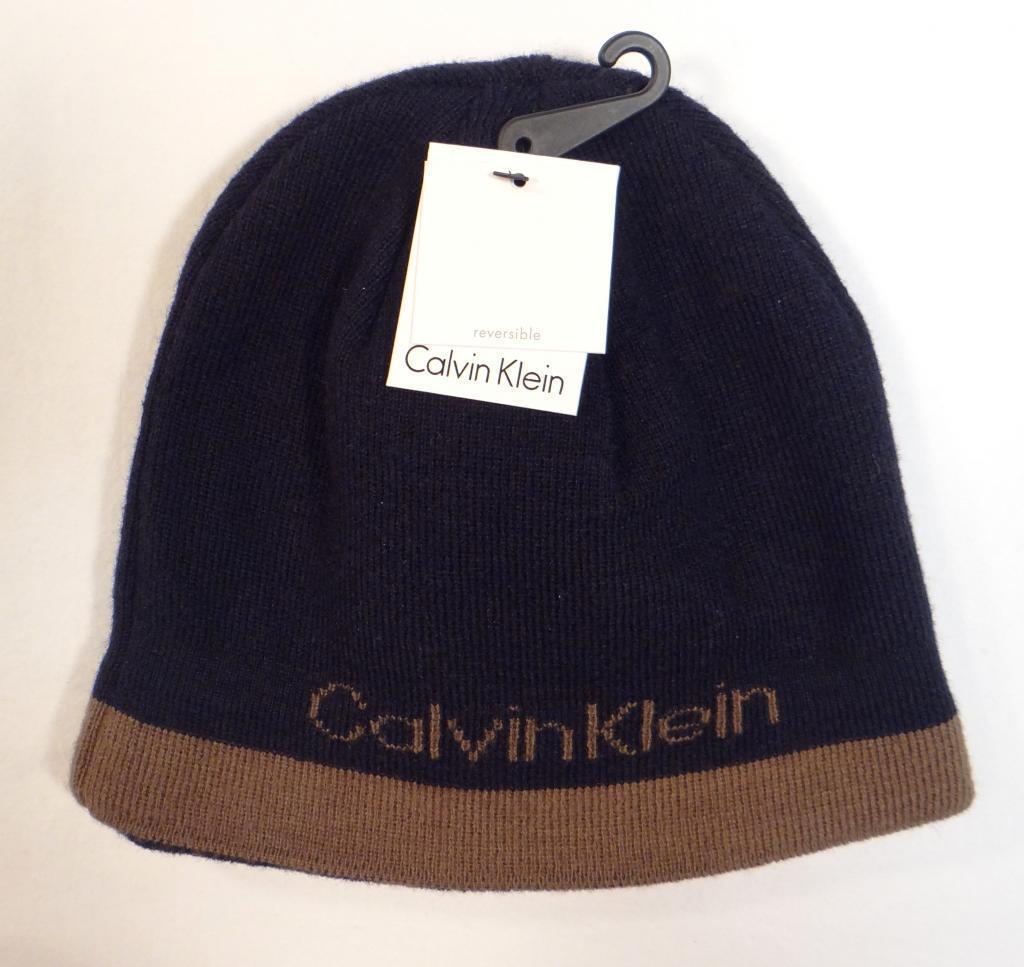 72cf5535e18 S l1600. S l1600. Previous. Calvin Klein Reversible Navy Blue   Brown Beanie  Skull Cap Adult One Size NWT