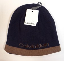 Calvin Klein Reversible Navy Blue & Brown Beanie Skull Cap Adult One Size NWT - $40.83
