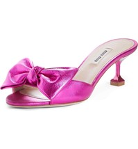 MIU MIU Bow Slide Sandals Size 38.5 - $445.50