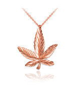 10K Rose Gold Marijuana Leaf Cannabis DC Charm Necklace - $59.99+