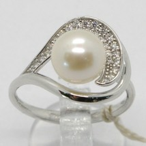 18K WHITE GOLD BAND PEARL ZIRCONIA RING ONDULATE, WAVE, SPIRAL, MADE IN ITALY image 1
