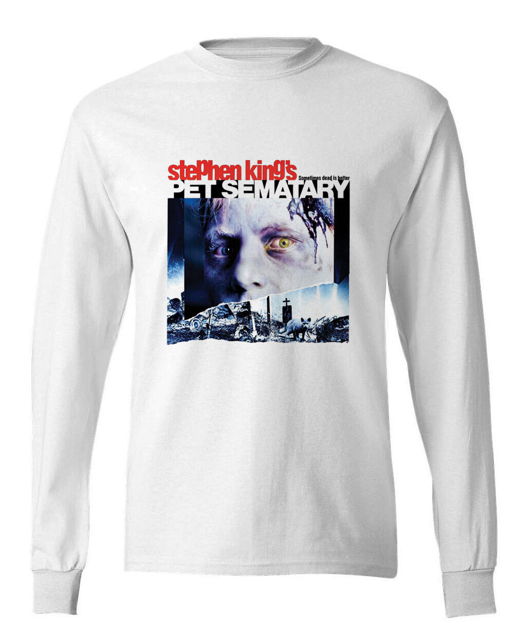Pet Sematary long sleeve T-shirt Free Shipping retro horror movie 100% cotton