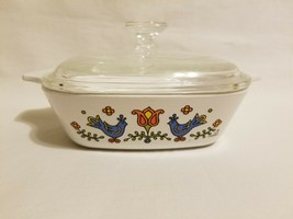 Corning Ware P-41-B Country Festival Petite Casserole 1-3/4 With P-41 Glass Lid - $39.59