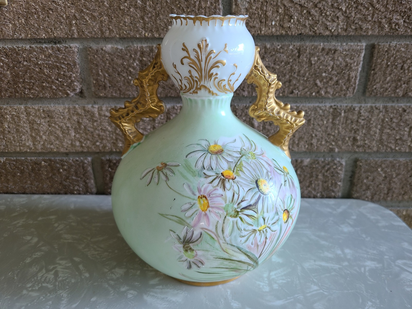 Antique Knowles, Taylor Knowles Lotusware Ceramic Handled Vase, Handpainted