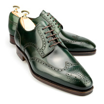 Olive Green Men Derby Style Wing Tip Brogues Toe Real Leather Lace up Shoes - $144.99+