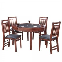 Poker Table and Chairs Set 5 Piece Folding Solid Hardwood Octagon-Shaped... - $1,214.19