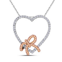 10k White Gold Womens Round Diamond Rose-tone Rope Knot Bow Heart Pendant 1/6 - $161.00