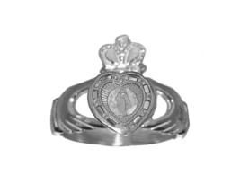 925 Sterling Silver Virgin Mary Claddagh Ring Heart love loyalty pray fo... - $35.52