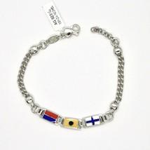 Bracelet en Argent 925 Rhodié avec Drapeaux Nautique Émaillés Fabriqué e... - $142.68
