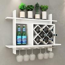 Wall Mount Wine Rack w/ Glass Holder & Storage Shelf - £99.73 GBP