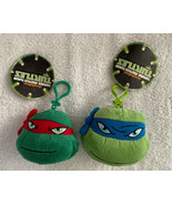 NEW Ninja Turtle Plush LEONARDO & RAPHAEL Backpack Key Clips Zippered Co... - $14.96
