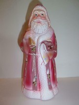 Fenton Glass Pink Nice List Bejeweled Christmas Santa Claus LE #2/10 JK ... - $280.82