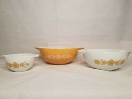 Vintage Cinderella Butterfly Gold Pyrex Nesting Bowl Set 444, 443, 441 BXA - $74.24