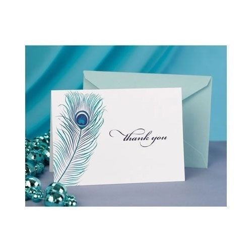 Primary image for 50 Peacock Feather Wedding Thank You Cards Thank you Notes