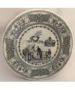 """Gien France No. 5 Transferware Story Black/White Plate, 7 7/8"""" Historical - $17.82"""