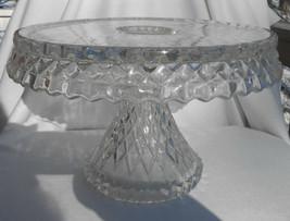 Cambridge VIRGINIAN GLASS PEDESTAL CAKE PLATE STAND Salver Diamond Optic... - $148.09