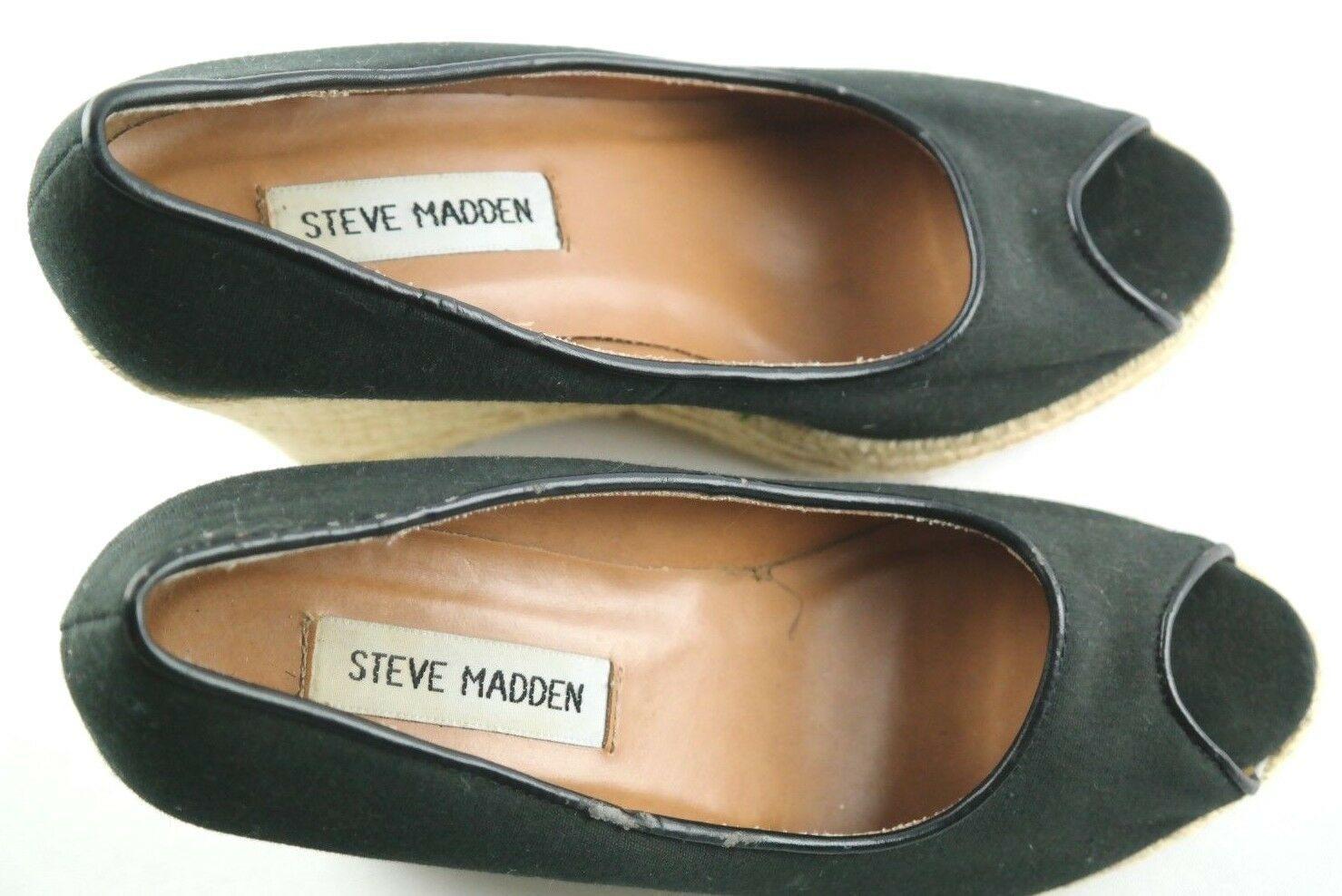 Steve Madden Peep Wedges Womens Size 6 Black Canvas Slip On High Heel Shoes image 6