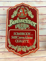 "Vintage Budweiser ""King of Beers"" Red Tin Bar Wall Sign Man Cave - $55.00"