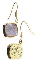 Elise M 18K Gold Plated Pink Druzy Dangle Drop Shepherds Hook Earrings NWT image 1