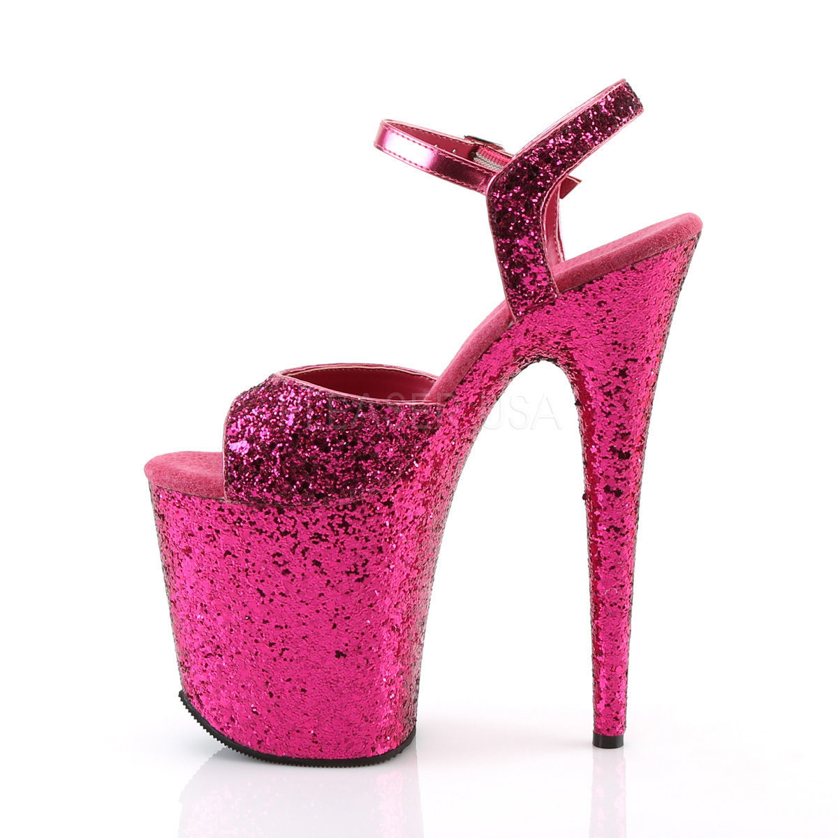 "8/"" Pink Glitter Super High Platform Stripper Heels Shoes Pleaser Flamingo-810LG"