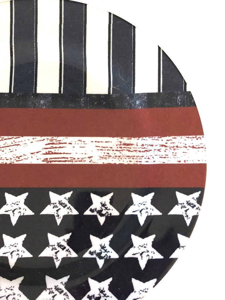 "Patriotic Melamine Dinner Plates Flag Design 10.25"" Set of 4 Stars and Stripes"