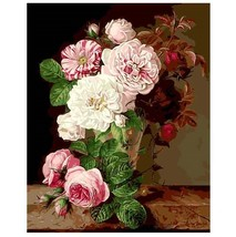 Paint By Number Kit Vintage Flowers Bouquet Still Life DIY Picture 16x20... - $10.99