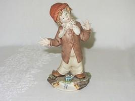 Vintage Porcelain Capodimonte Figurine Boy w Hat Scarf Coat Bisque Signed - $59.39