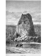 OREGON Castle Rock on Columbia River - 1883 German Print - $16.20
