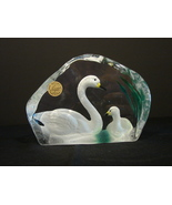 Genuine Lead Crystal Swans, Cristal d'Argues, France Paperweight - $11.49