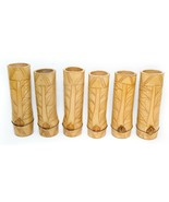 """Set of 6 Vintage Carved Real Bamboo Cup Tumbler Tall With Tiki Art 8"""" He... - $39.60"""
