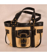 Coach Womens Black Leather & Natural Straw Legacy Handbag Tote Purse M05... - $64.35