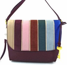 Authentic New Nwt Fossil $198 Leather Maya Purple Blue Crossbody Bag - $95.00