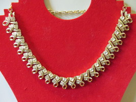 Vintage Coro Gold Toned Necklace with Two Sizes of White Rhinestones - 1... - $15.99
