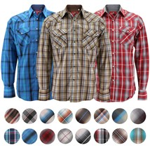 Rodeo Clothing Men's Premium Western Cowboy Pearl Snap Long Sleeve Plaid Shirt