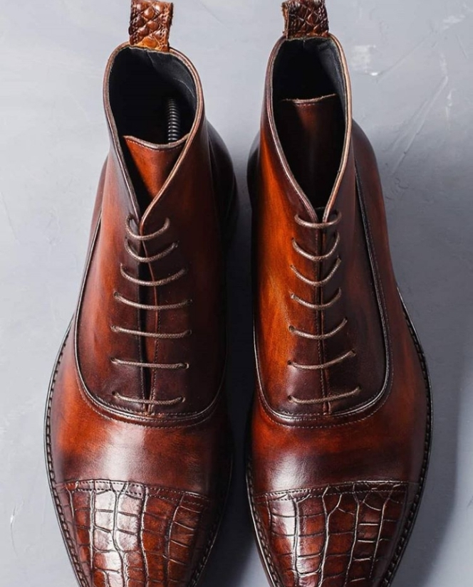 Handmade Men's Brown High Ankle Lace Up Crocodile Two Tone Leather Boots