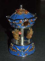 Vintage Decorated Enamel Jeweled Elephant Carousel Music Box  image 8