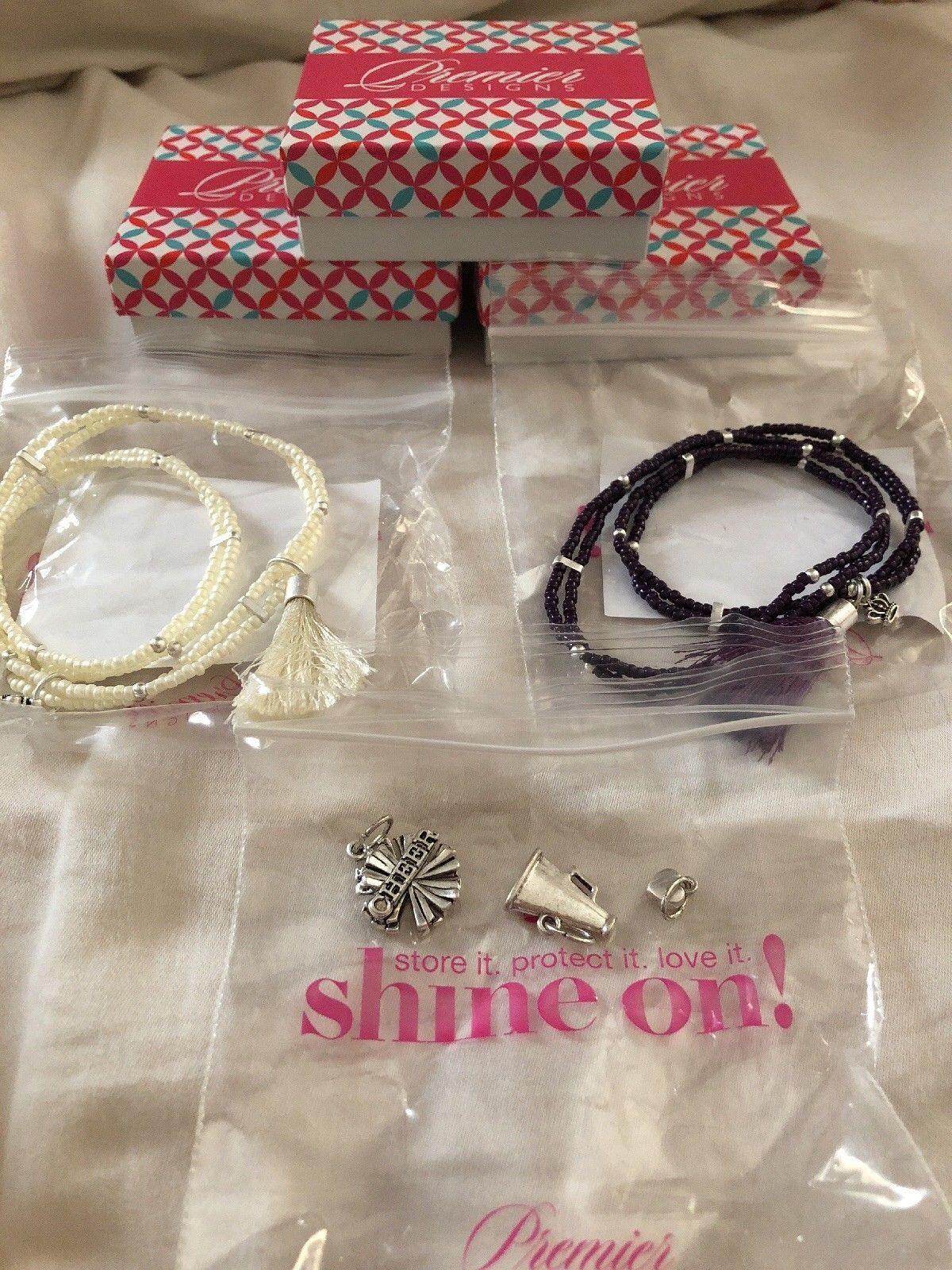 Premier Designs Color Play Bracelets- Purple & White w/Cheer Charms NIB - $56.10