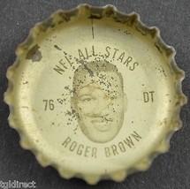 Coca Cola NFL All Star Bottle Cap Detroit Lions Roger Brown Coke King Size Soda - $6.99