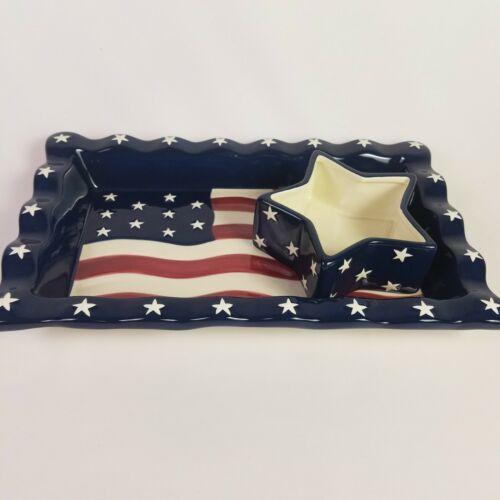 Americana Chip Dip Set USA Flag Serving Tray Stars Stripes 14 X 8.5 Homco NEW image 3