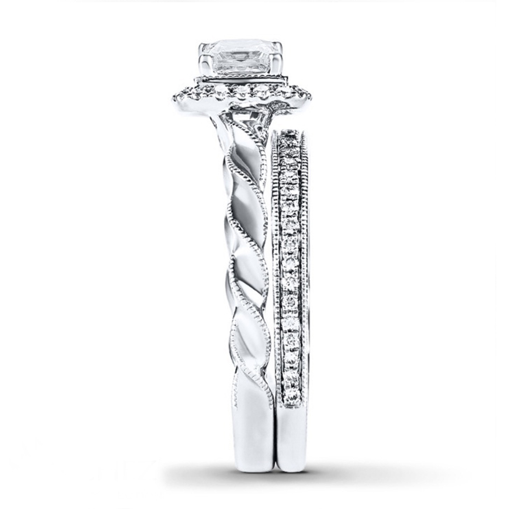 Princess Cut Sim Diamond Bridal Wedding Ring Set 14k White Gold Over 925 Silver