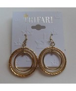 Vintage Trifari Gold-tone Dangle Circle Hook Earrings - $15.99