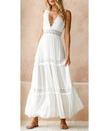 New white lace sexy V neck long backless cotton maxi women dress spring ... - $38.00