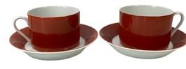 Fitz & Floyd Rondelet Terra Cotta Flat Cup Saucer Set Demitasse Coffee P... - $24.74