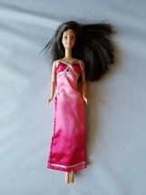 Mattel Genuine Barbie Clothes Pink Ombre Maxi Dress Gown Silver Long - $6.29