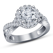 Womens Engagement Diamond Ring 14k White Gold Finish 925 Sterling Pure S... - $71.99