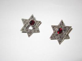 star of David pierced earrings Garnet Marcasite vintage 1980's Gorgeous - $56.00