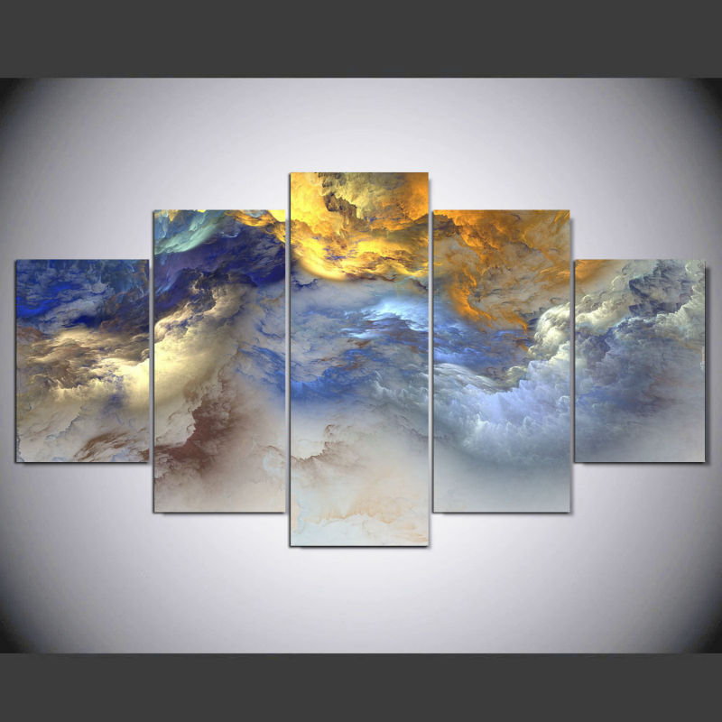 framed 5 panels colors clouds canvas print painting wall art picture home decor posters prints. Black Bedroom Furniture Sets. Home Design Ideas