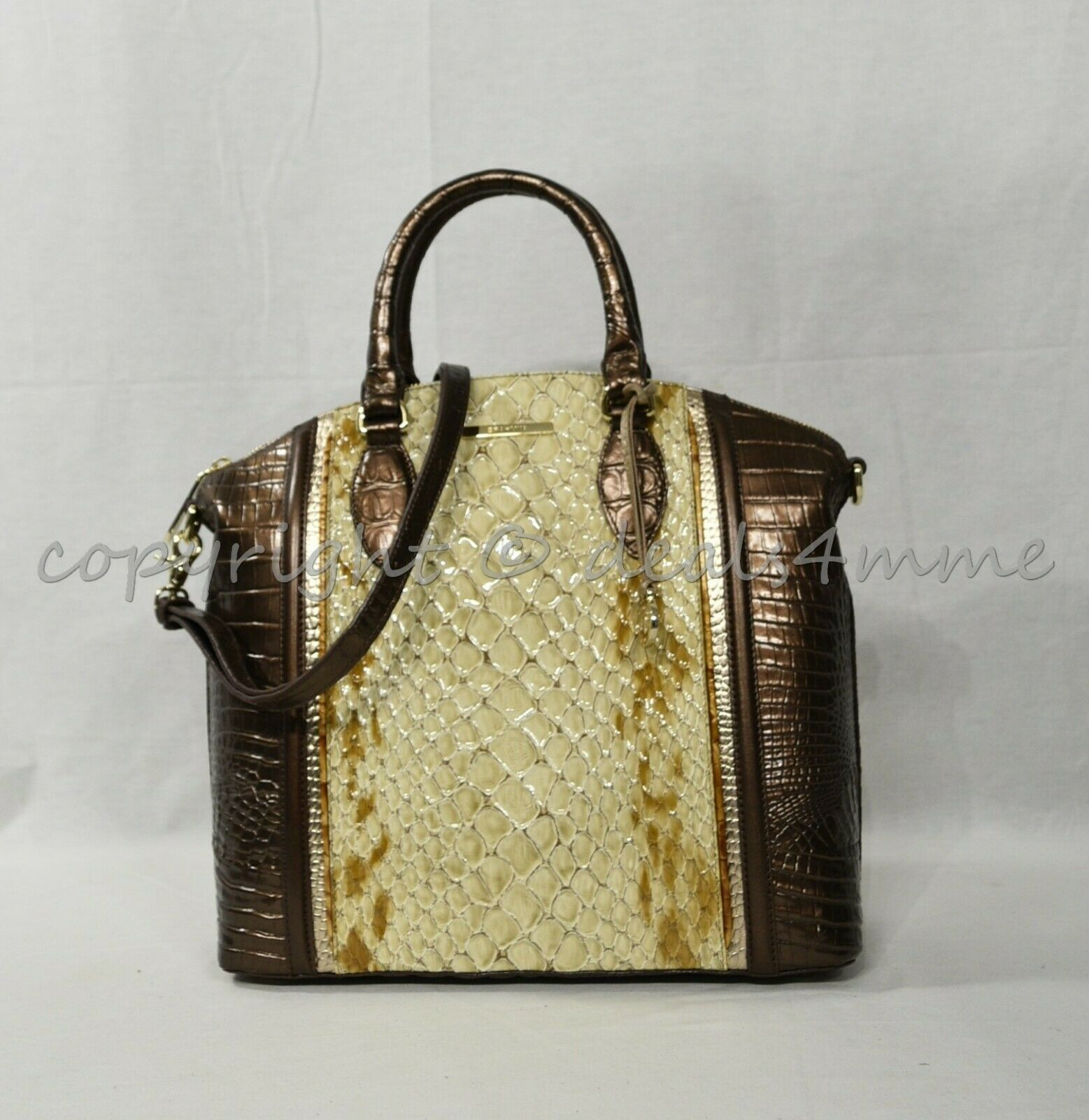 NWT Brahmin Large Duxbury Satchel/Shoulder Bag in Honey Carlisle image 10